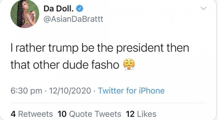 Asian Doll Tweets: I'd Rather Vote for Trump Than the Other Dude