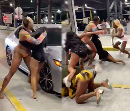 Group Of Elegant Women Get Into An All Out Brawl At A Parking Garage