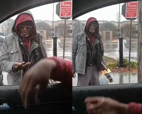 homeless man blessed