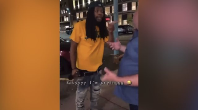 Drunk Man Gets Punched In The Face After Throwing Garbage At A Man